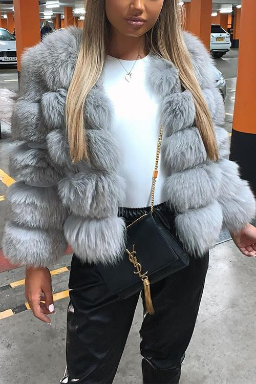 Layer O Neck Faux Fur Coat
