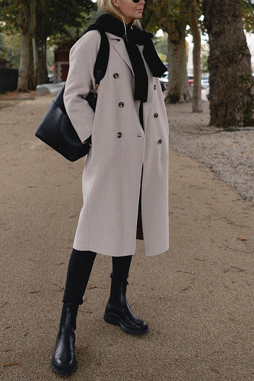 Double Breasted Belted Woolen Coat