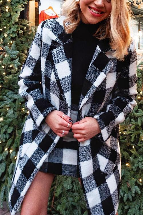 Plaid Button Woolen Coat