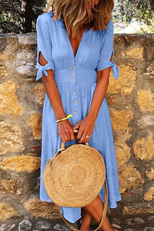 Button Knot Sleeve Dress