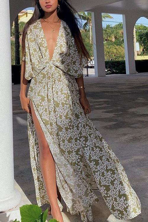 Print Bat Deep V Neck Maxi Dress