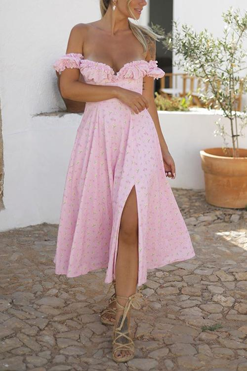 Floral Ruffles V Neck Slit Dress