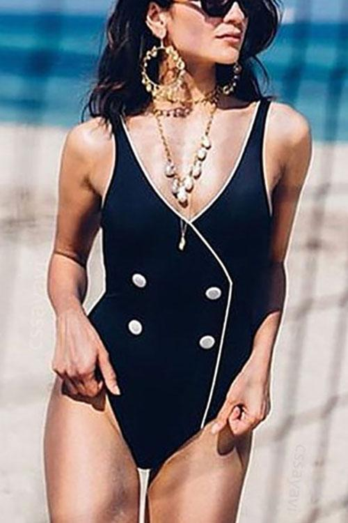 Button One Piece Swimsuit