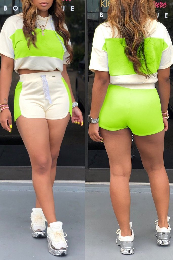 Hooded Color Block Drawstring Shorts Set