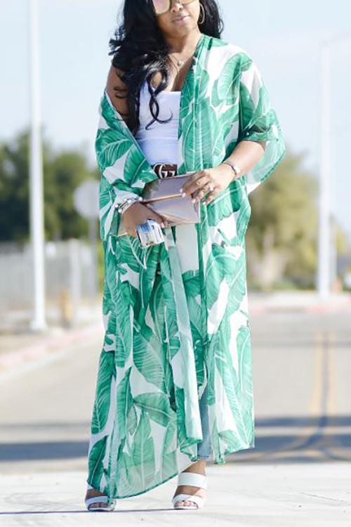 Leaf Print Long Sleeve Cover Up