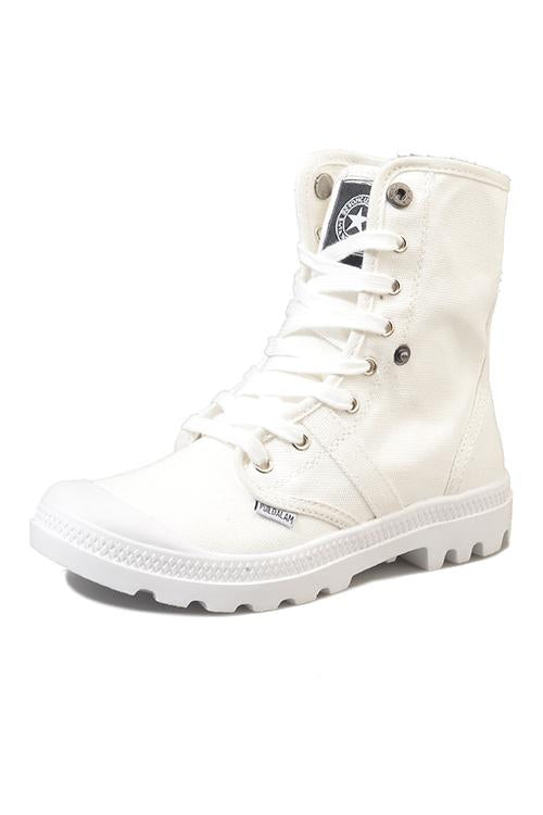 Lace Up Canvas High Boots