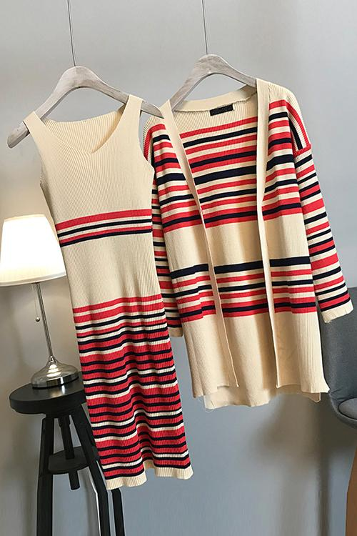 Stripe V Neck Knit Dress Cardigan Set