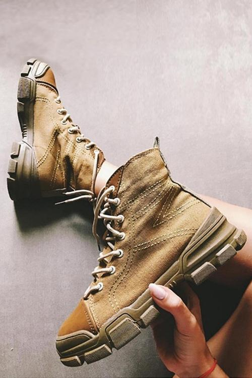 Canvas High Boots