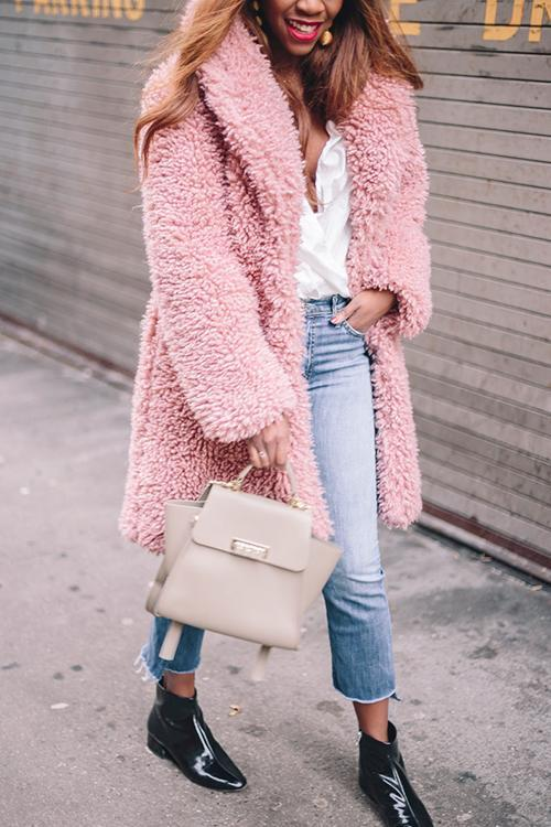 Fuzzy Turndown Collar Coat
