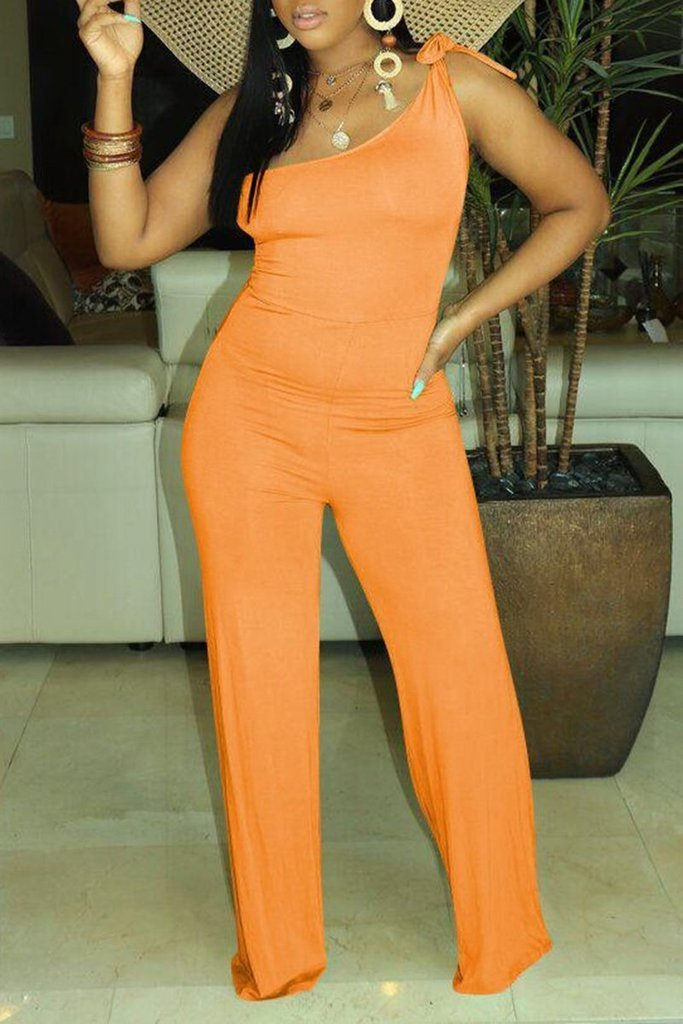 Bow Tie One Shoulder Jumpsuit