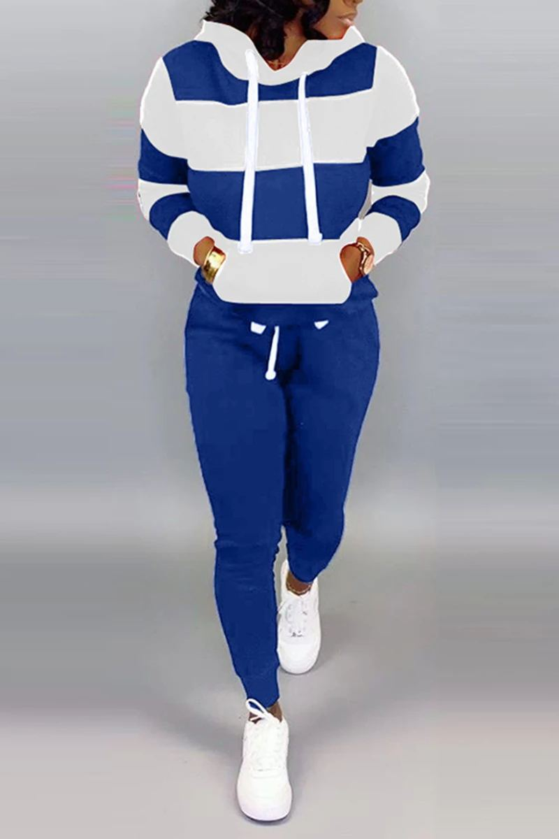 Stripe Color Block Hoodie Pants Set