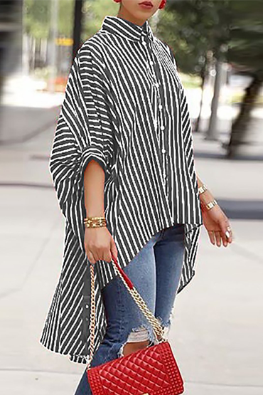 Button Asymmetrical Striped Shirts
