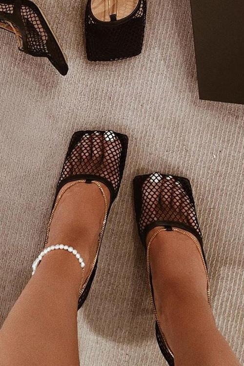Chains Mesh High Heel Pumps