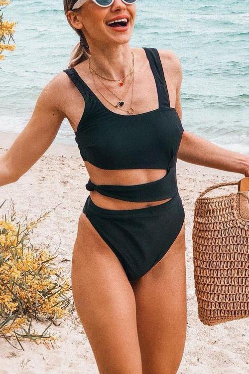 Solid Cut Out One Piece Swimwear