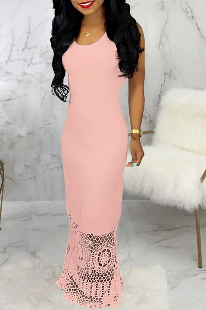 Hollow Hem U Neck Sleeveless Maxi Dress