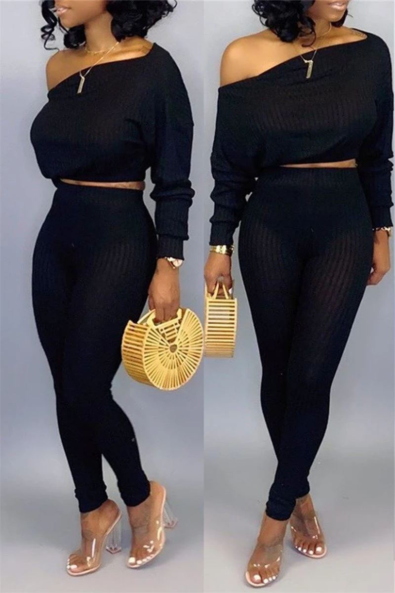 Skew Neck Long Sleeve Crop Pants Set
