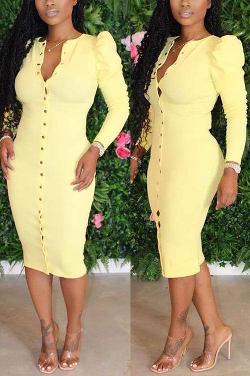 Button Puff Sleeve Bodycon Dress