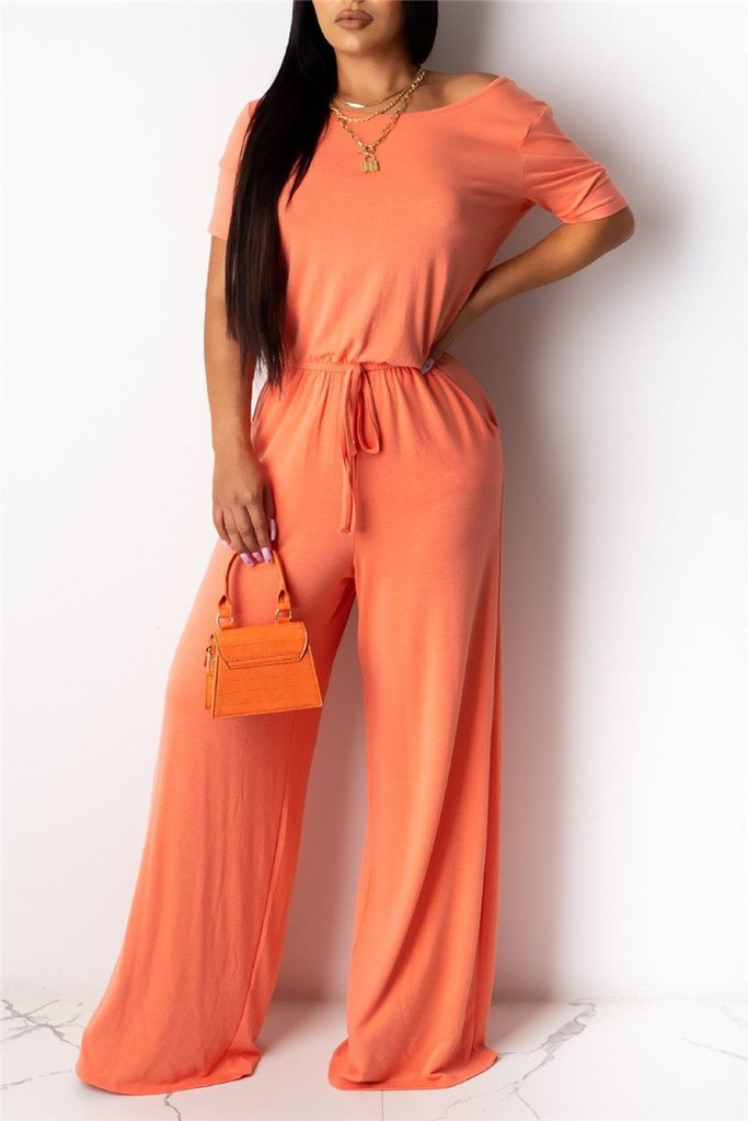 Solid Skew Neck Drawstring Jumpsuit
