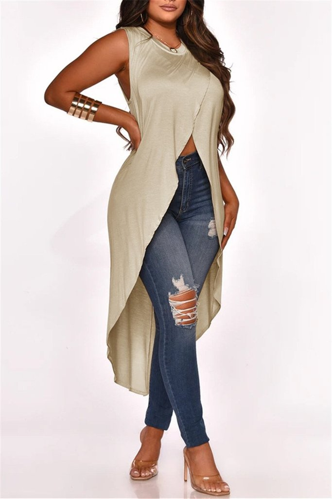 Solid Sleeveless Asymmetric Top