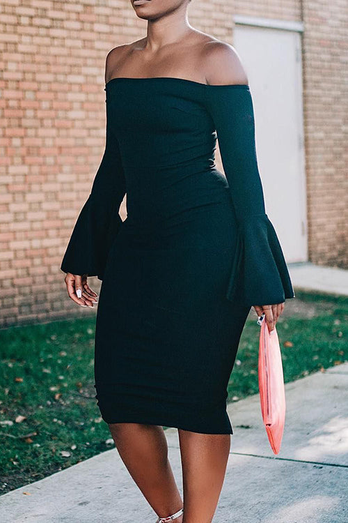 Off Shoulder Flare Sleeve Dress