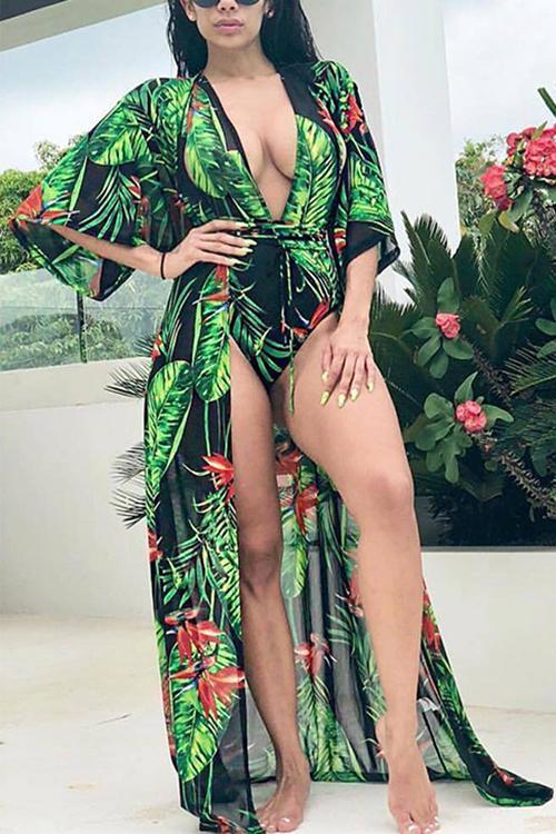 Tropical Leaf Print Swimsuit With Cover Up