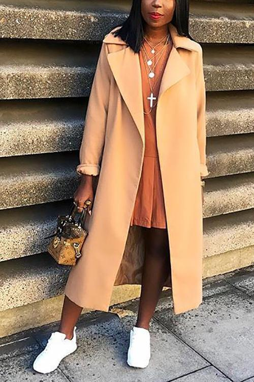 Pockets Lapel Woolen Trench Coat