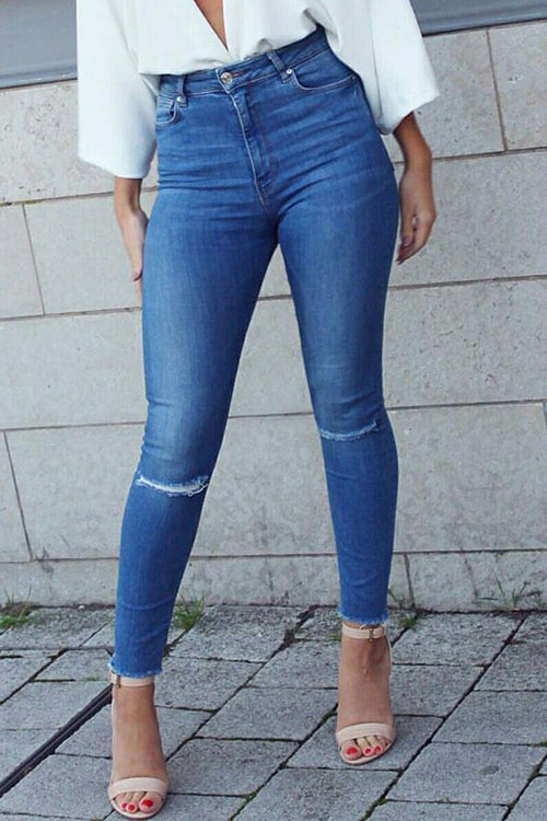 Simple Broken Hole Jeans