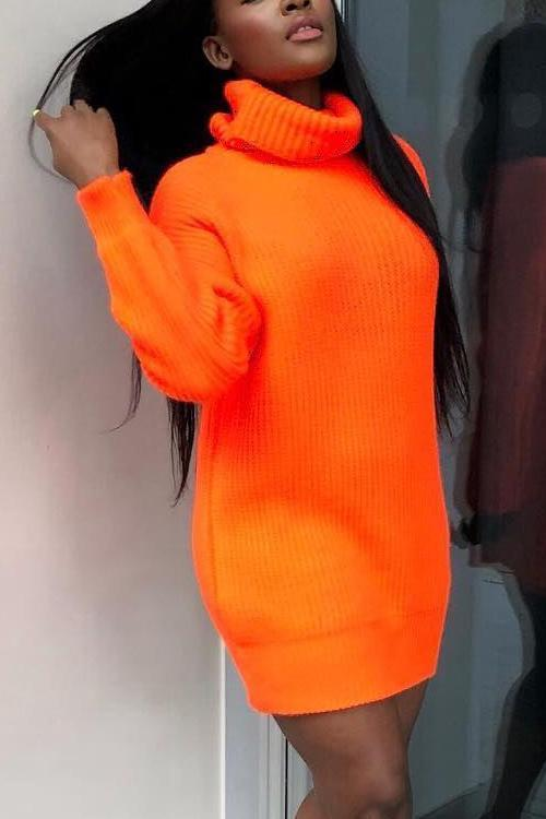Orange High Collar Sweater Mini Dress