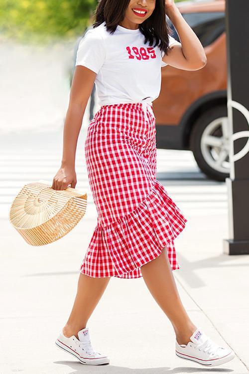 Plaid Ruffle Fishtail Skirt
