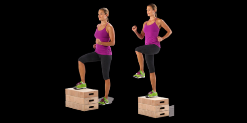 Step up workout strengthens the legs