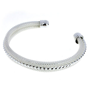 Forever Simplicity Silver Braided Mesh Bangle S14
