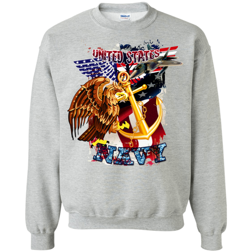 Navy G180 Gildan Crewneck Pullover Sweatshirt  8 oz AM046.