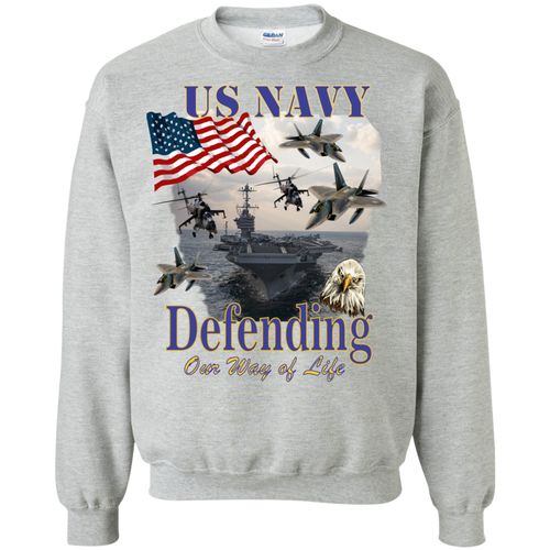Navy G180 Gildan Crewneck Pullover Sweatshirt  8 oz. AM045