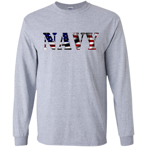 Navy G240 Gildan LS Ultra Cotton T-Shirt AM044