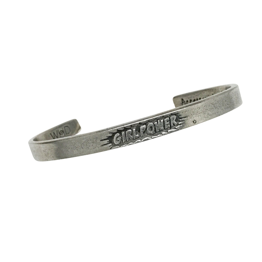 """Girl Power"" Pewter Cuff Bracelet"