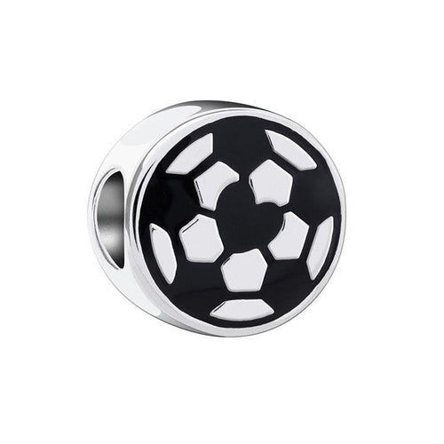 Kick It - Soccer Charm with Jet Enamel