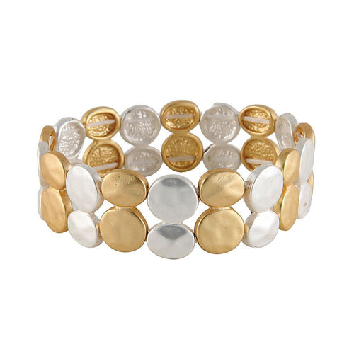 Gold and Silver Stretch Bracelet