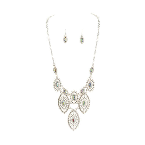 Silver Filigree Bib Necklace Set
