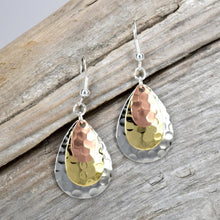 Hammered Three Tone Earrings