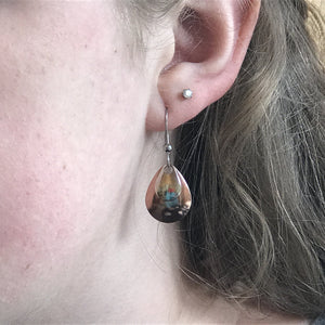 Shiny Copper and Silver Earrings
