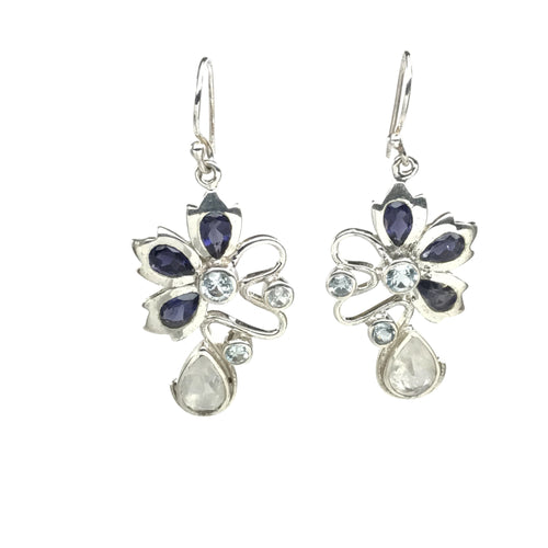 Fancy Iolite Flower Earrings