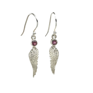 Pink Tourmaline Angel Wing Earrings