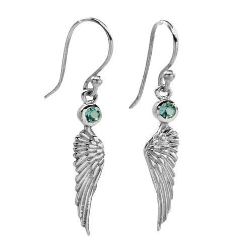 Angel Wing Earrings with Blue Topaz