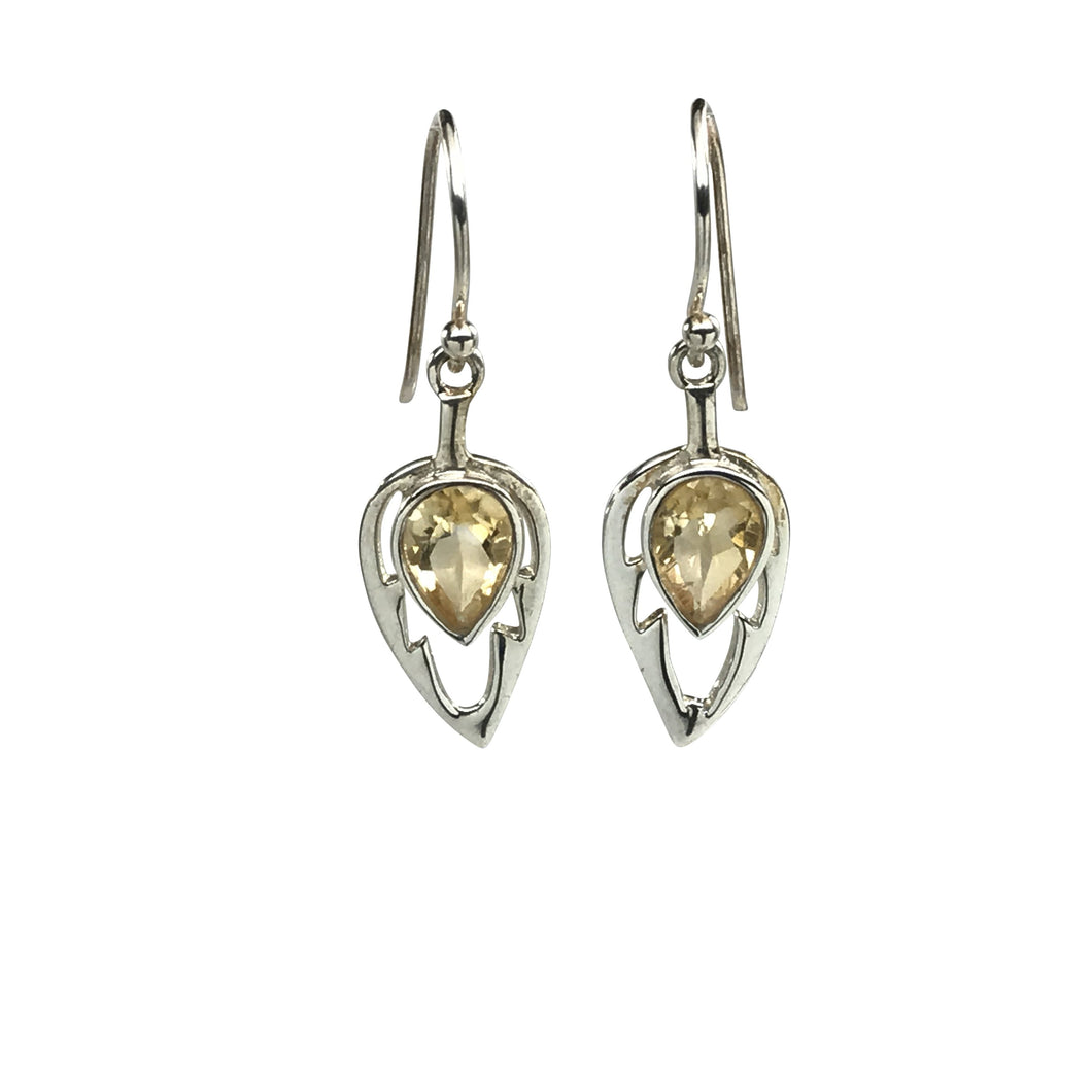 Citrine Leaf Earrings