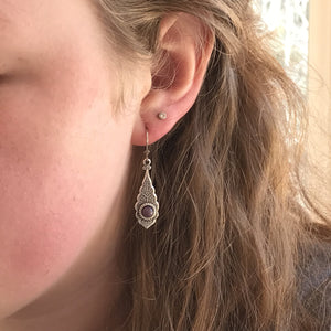 Ornate Silver Drop Earrings
