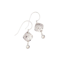 Silver Square Leaf Earrings
