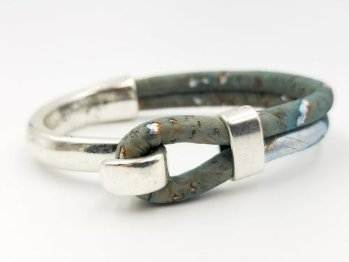Blue/Green Cork Side Hook Bracelet