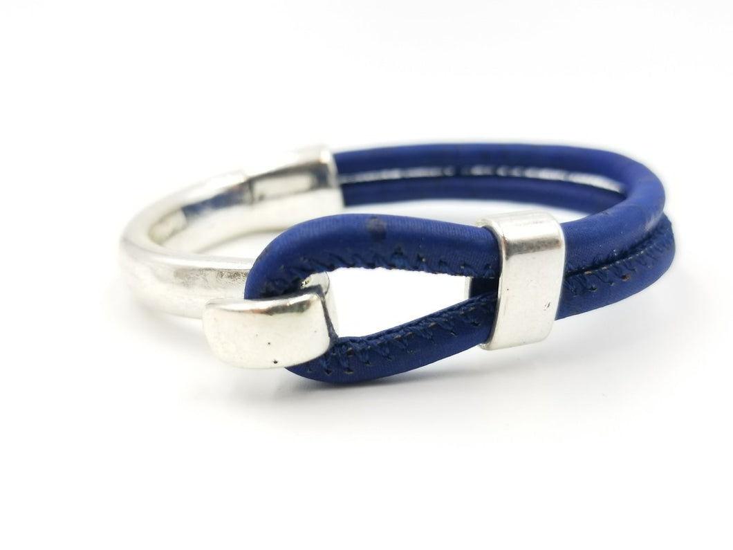 Navy Blue Cork Side Hook Bracelet