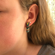 Striped Wood Post Earrings