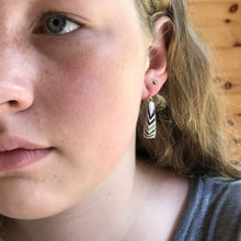 Short Layered Wood Earrings